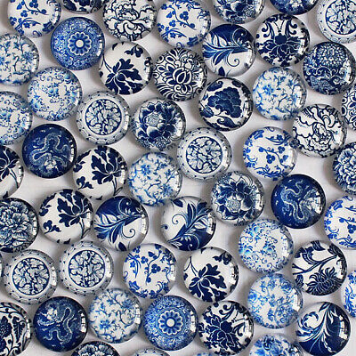50pcs Round Glass Cabochon Blue and White Porcelain Pictures Dome Embellishment