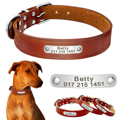 Large Dogs Personalised Dog Collar Engraved Pet ID Name Plate Heavy Duty Buckle