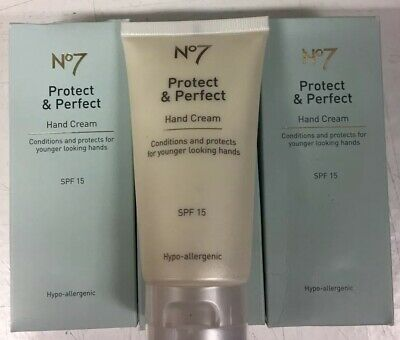 no7 protect and perfect Hand Cream -75ML X 3 - New Item - Slightly Damaged Boxes