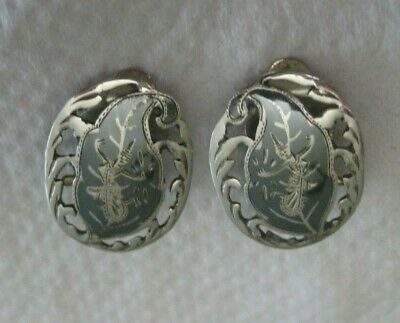 Nielloware Siam Sterling Clip On Earrings