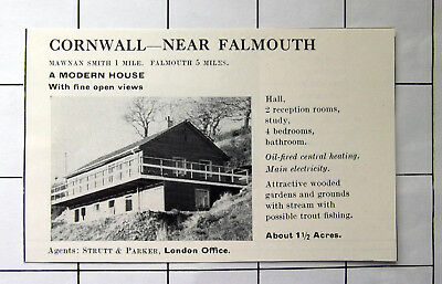 CORNWALL Near FALMOUTH 4 Bed House With Open Views 1 1/2 Acres Old 1969 Advert