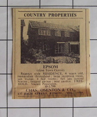 EPSOM Regency 4 Bed House For Sale Close To Town Freehold £12,750 1969 Advert