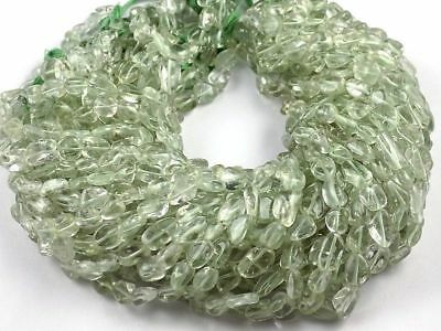 "1 Strand Green Amethyst Gemstone Nuggets Beads Approx 11x4-3x3mm Smooth 15"" Long"