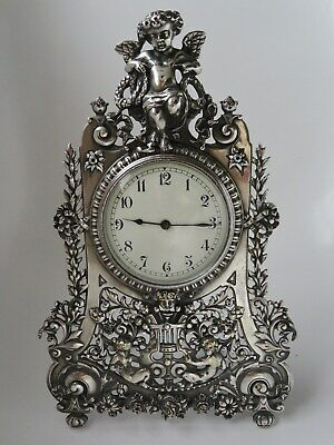 "12"" Silver Brass Statue Strutt Clock. Fine quality fully restored antique. c1900"