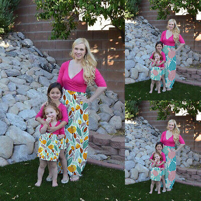 Family Clothes Mother Daughter Dresses Women's Girls Floral Long Maxi Dress