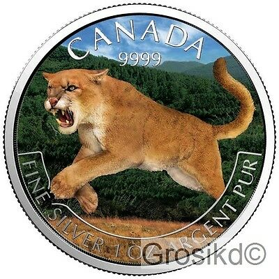 CANADA 2016 $5 COUGAR PUMA 1 Oz SILVER COLOR LIMITED MINTAGE 100 PCS BOX COA v2