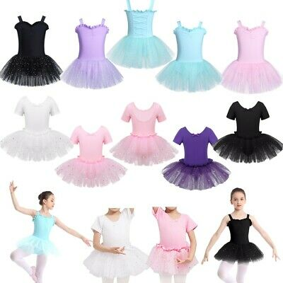 Girls Performing Ballet Dance Dress Shiny Sequins Leotards Mesh Tutus Gym Outfit