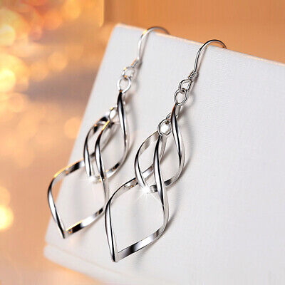 925 Sterling Silver Long Drop Dangle Hook Earrings Women's Hot Fashion Jewelry