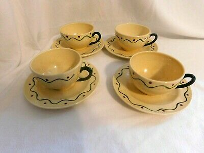 E Metlox Poppytrail Hand Painted Green Rooster Cups & Saucers Lot of 4 CA  USA