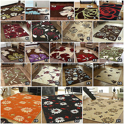Small Large Modern Thick Soft Rapello Fleur Flowers Floral Clearance Sale Rugs