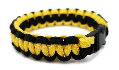 "550 Paracord Bracelet Two-Tone Black/Yellow Survival Tactical 3/8"" Buckle"