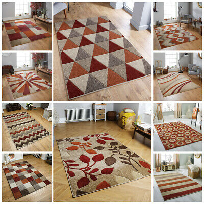 Modern Geometric Floral Small Large Runner Carved Orange Terracotta Budget Rugs