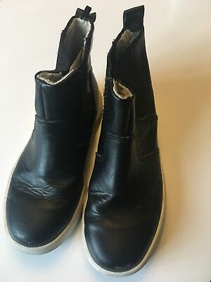 Girls H&M Black Leather Chelsea (Ankle) Boots Size UK Childrens 11
