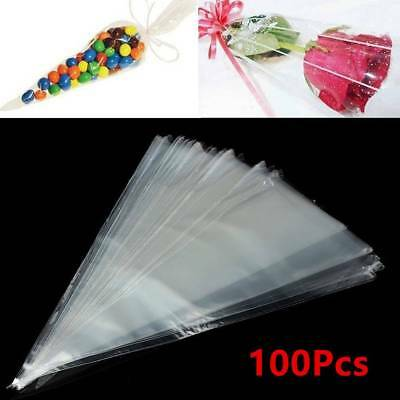 100X Transparent Triangle Candy Food Bags For Wedding Birthday Party Supply Kit
