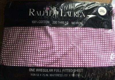Ralph Lauren Purple Check Fitted Full Size Sheet NEW