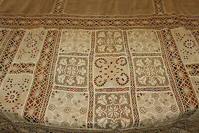 Antique crocheted cotton emroidered lace curtain? panel 42 x 88 with fringe