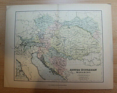 Antique late 1800s W & R Chambers Middle fold Map of AUSTRO-HUNGARIAN Monarchy