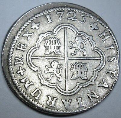1723 XF Spanish Silver 2 Reales Piece of 8 Real Colonial Two Bit Treasure Coin