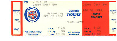 Detroit Tigers Ticket New Sept 7 1988 Vs Blue Jays