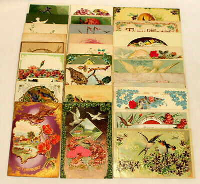 Lot Of 28 Antique/Vintage Postcards ~ All With Birds ~ Doves~Blue Birds~Swallows