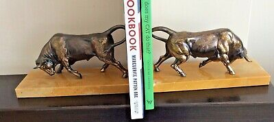 Art Deco Fighting Bull Bookends, Cast Iron With Copper Wash On Marble Base