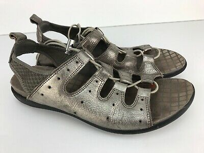 cba5d9881e5ad ECCO WOMENS BLUMA Toggle Sandals 39 EUR 8 US Silver Metallic ...