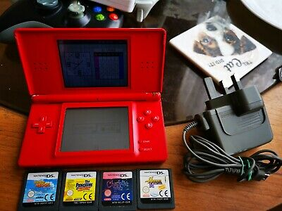 Nintendo DS Lite red Console with 4 games working