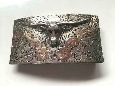 Antique Sterling Silver and Rosetone Brass Longhorn Belt Buckle Made in Mexico