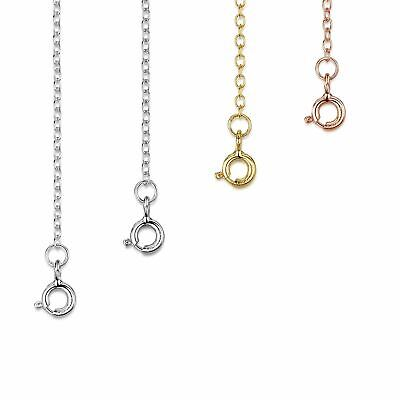 Amberta 925 Sterling Silver 2 mm Curb Chain Extender Set for Women Various Types