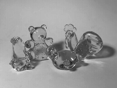 Vintage Art Glass Animal Small Paperweights Teddy Bear,Turtle, Penguin & Rooster