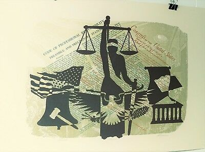 Dino Konopisos Law Attorney Artwork Rare From 1980'S Eagle Flag Artist Proof