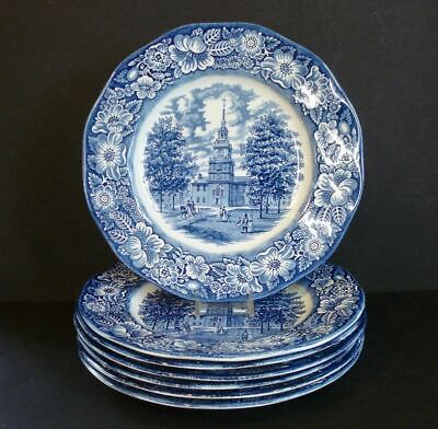Set of 7 ~ Staffordshire / Liberty Blue China ~ Dinner Plates Independence Hall