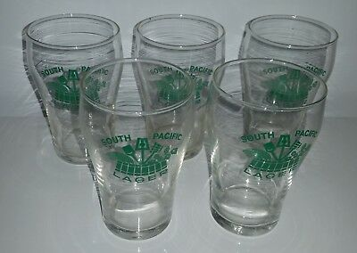 Lot of 5 small 5 Oz. South Pacific Lager beer drinking glasses 140 ml each