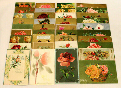 Lot Of 37 Antique/Vintage Assorted Postcards ~ All W/ Roses ~ Pink, Red, Yellow