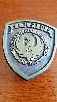 Vintage Ruger 30-Year Anniversary Solid Brass Belt Buckle