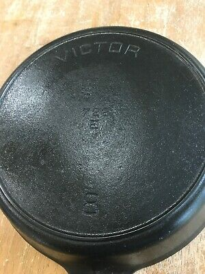 "Griswold / Victor 722 A , #8, ~10-1/2"" Cast Iron Skillet, Cleaned/seasoned"