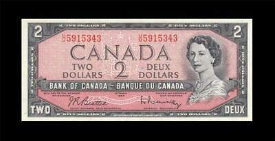 "1954 BANK OF CANADA QEII $2 **Consecutive 1 of 2**  ""U/U"" (( aUNC ))"