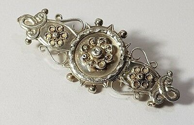 Antique Victorian Hallmarked Silver Sweetheart Pin Brooch Beaded Filigree 1893