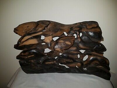 VINTAGE ORNATE INDONESIAN BALINESE CARVED WOODEN PANEL 3D INTRICATE Oceanic Fish