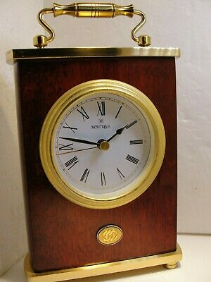 Montreux Battery Clock, Brass & Wood Grain, Condition Is Good
