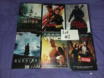 Lot of 6 DVD MOVIES GEOSTORM ANTMAN WASP DUNKIRK VENICE INFERNO APES lot#1