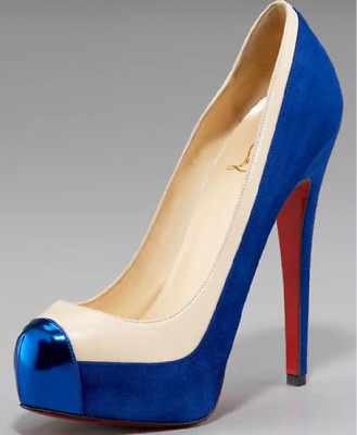 a0e73cc4fc1 NEW CHRISTIAN LOUBOUTIN Lagoyata 85 Suede Encre Blue Bow Leather ...