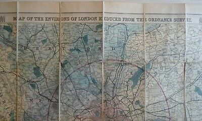 Map of the Environs of London reduced from the Ordnance Survey, 1895 - Very Good