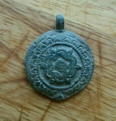 Stunning ancient roman / byzantine bronze pendant beautiful patina unique artifa