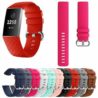 US Silicone Soft Sport Band For Fitbit Charge 3 Replacement Strap Watch S/L ol