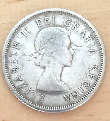 1958 CANADA 🇨🇦 SILVER 25 CENTS Canadian