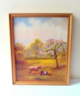 Painting On Canvas Of Cattle In Meadow