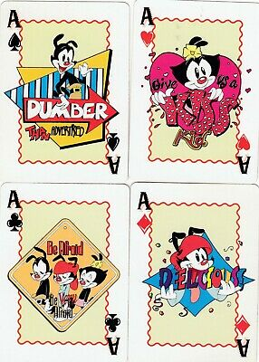 ACE of SPADES & SUIT ACES - WARNER BROS. - 4 single vintage playing cards !