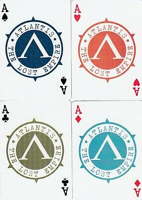 ACE of SPADES & SUIT ACES - ATLANTIS - 4 single vintage playing cards !