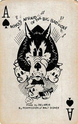 ACE of SPADES - THREE LITTLE PIGS - 1  single vintage playing cards !